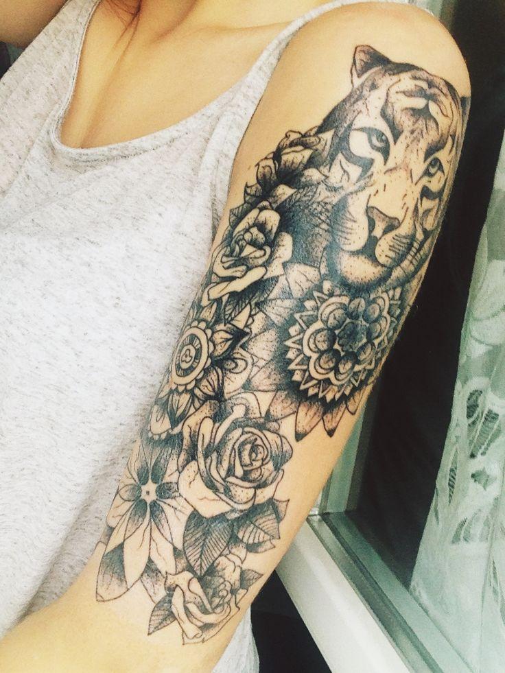 Floral tiger tattoo