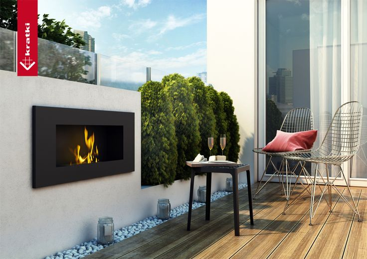 Biofireplace Delta 2 black #kratki #biofireplace # terrace #garden