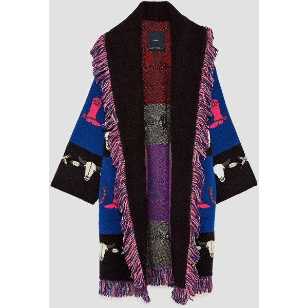 DOUBLE BREASTED WAISTCOAT - OUTERWEAR-WOMAN-SALE   ZARA Albania (315 SAR) ❤ liked on Polyvore featuring outerwear, vests, jacquard coat, purple coats and fringe coat