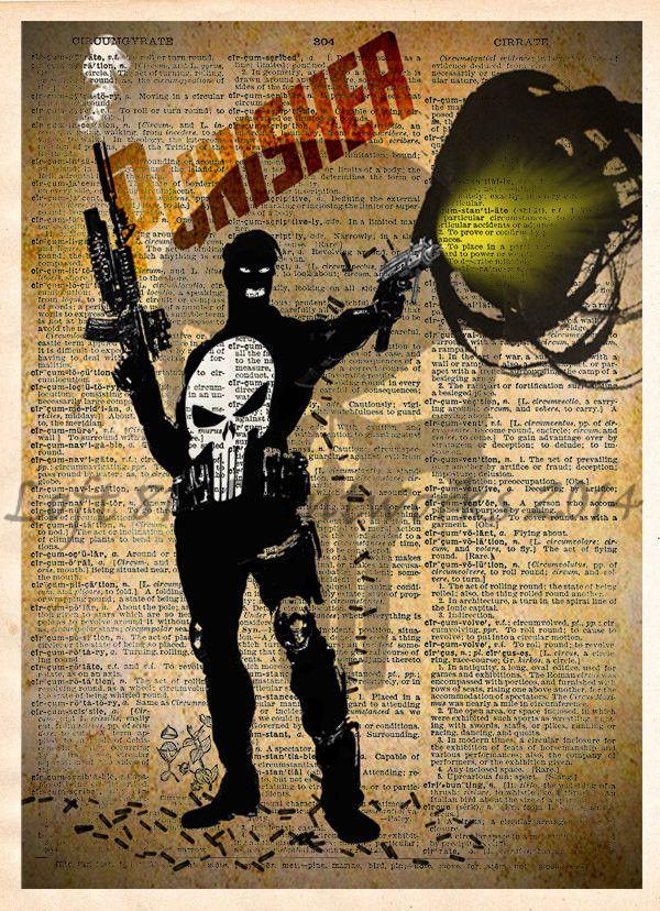 The Punisher, Punisher art print, Vintage Silhouette print, Retro Super Hero Art, Dictionary print art