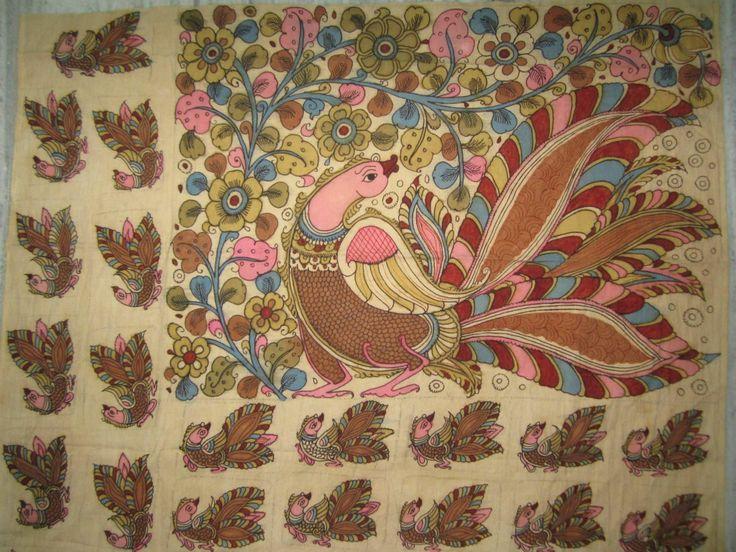 Kalamkari - Peacock motif on a saree pallu