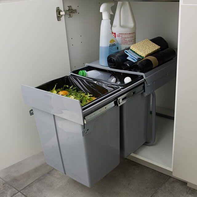poubelle de meuble coloris gris 2 bacs 20l cooke lewis scala poubelle de porte poubelle et. Black Bedroom Furniture Sets. Home Design Ideas