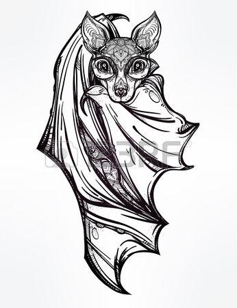 Utsmyckade nattlig fladdermus Design tatueringskonsten Isolerade vektor illustration Trendig vintage Stockfoto