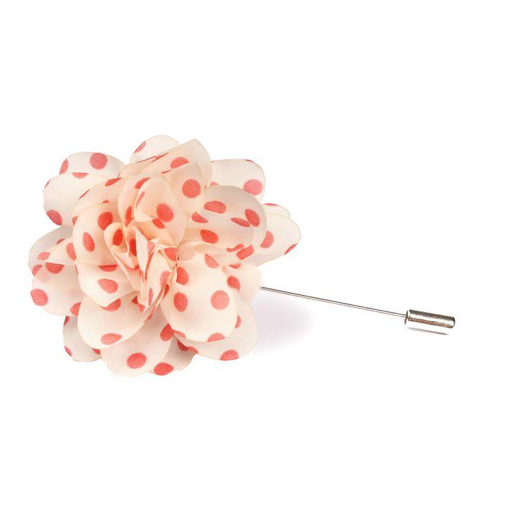 Polkadot Pink Lapel Flower | Suit Lapel Flower Pins | The Brothers at OTAA | OTAA.COM