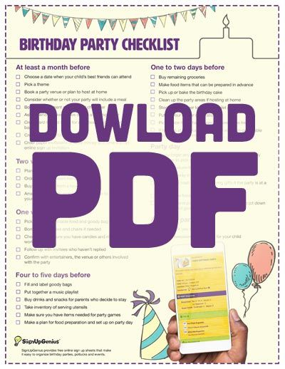 first birthday party checklist pdf