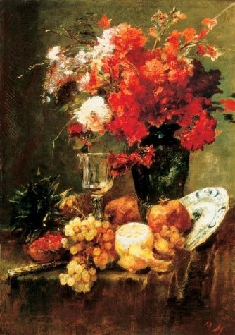 Still-life with Flowers and Fruits - Mihaly Munkacsy