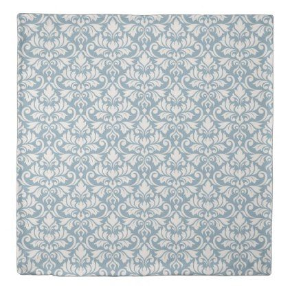 Flourish Damask Pattern Cream on Blue Duvet Cover - pattern sample design template diy cyo customize