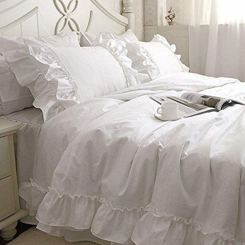 Amazon|綿100%ホワイト可愛い掛け布団カバー 枕カバー2枚 シングル|寝具カバーセット オンライン通販