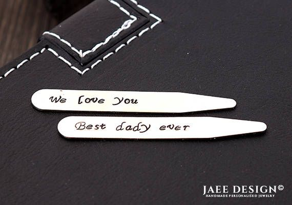 Collar Stays for Men - Personalized collar stay - Mens accessories - Hand Stamped gift - Shirt Stays - Anniversary gifts for men - mens gift by Jaeedesign on Etsy https://www.etsy.com/listing/528183631/collar-stays-for-men-personalized-collar