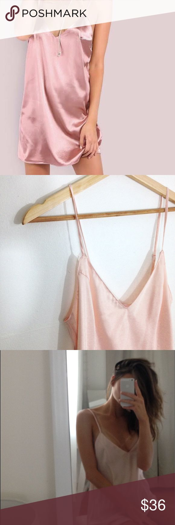 Pink Silk Cami Dress Baby pink silk Cami dress from Victoria secret, size M. Slim fitted, NEW without tags, never been worn. Adjustable straps. Perfect for spring and summer✨ Victoria's Secret Dresses Mini