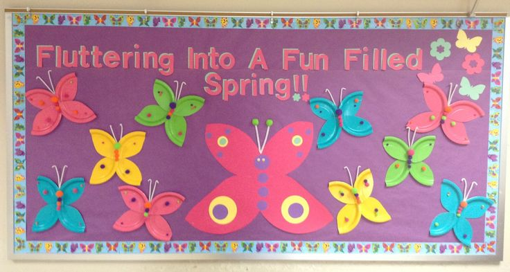 My Spring Bulletin Board. The kids made butterflies out of paper plates and Pom poms. I made the big butterfly out of poster board. :)