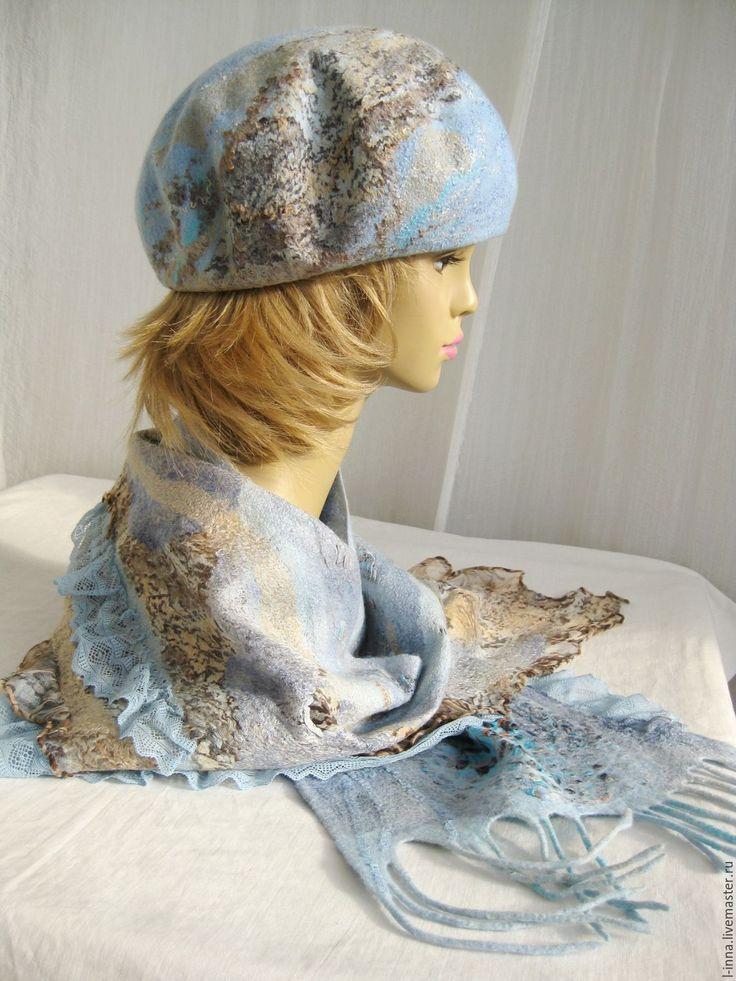 Купить Голубой песок берет и шарф валяный авторский - голубой, абстрактный, голубой с бежевым, бежевый