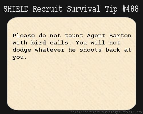 S.H.I.E.L.D. Recruit Survival Tip #488: Please do not taunt Agent Barton with bird calls. You will not dodge whatever he shoots back at you.  [Submitted by rainbowtrolls]