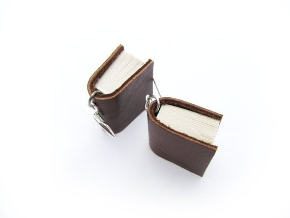 Miniature Leather Bound Upcycled Book Earrings- Handcrafted in Brown Leather. https://www.etsy.com/nz/shop/ExLibrisJewellery