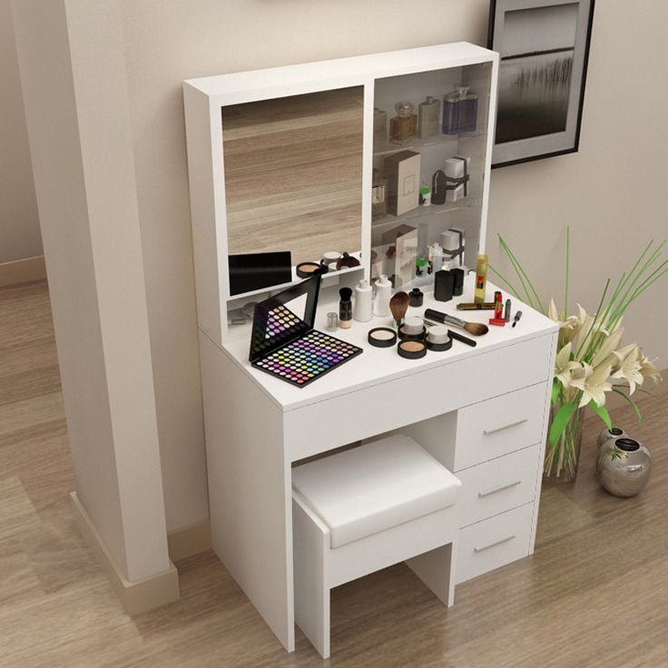 coiffeuse moderne cor en simple avec un miroir de toilette de table de toilette de petite taille. Black Bedroom Furniture Sets. Home Design Ideas