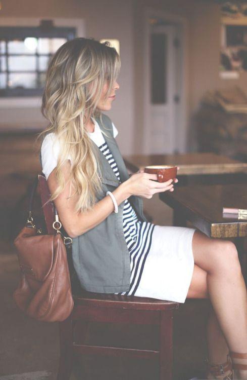 striped dress + sleeveless cardigan + wedges