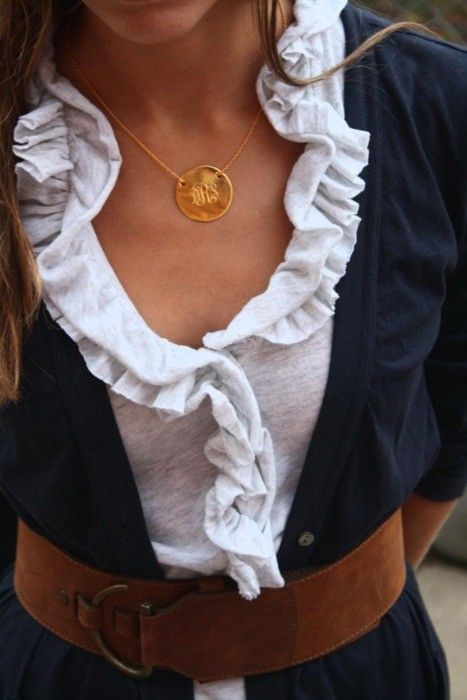 .: Colors Combos, Monograms Necklaces, Style, Clothing, Outfit, Fall Looks, Fall Fashion, Leather Belts, Ruffles