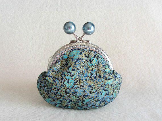 Blue coin purse kiss lock pouch cotton coin purse flower