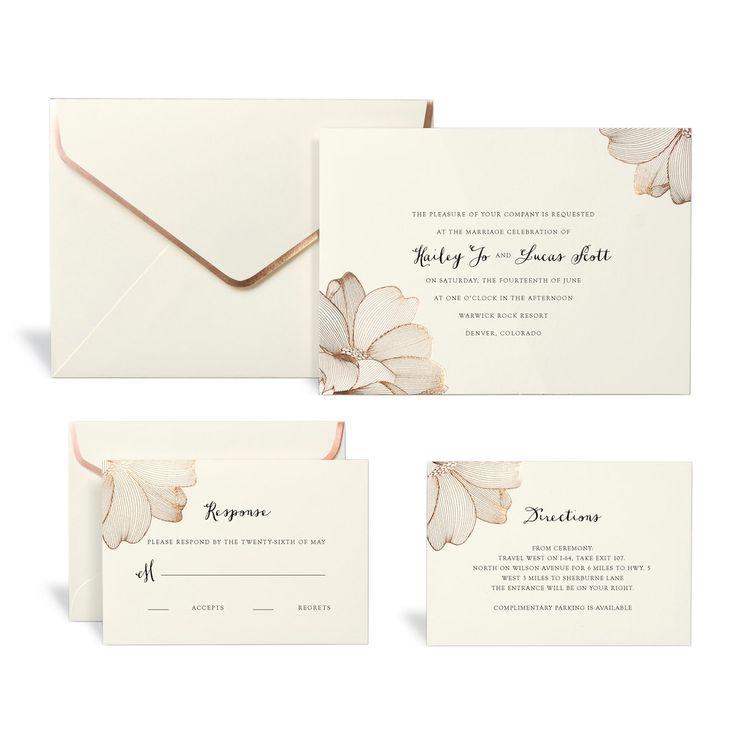 Rose Gold Floral Wedding Invitation Kit By Celebrate It ...