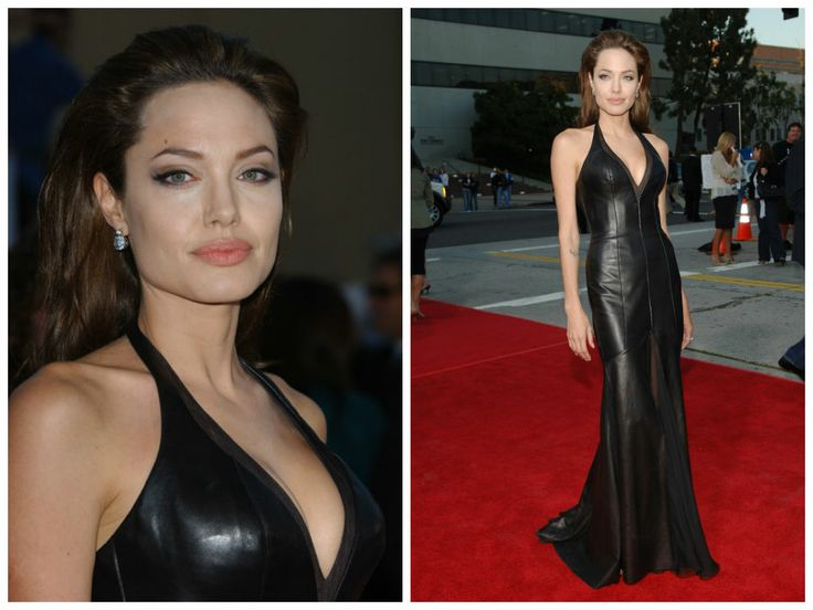 Angelina Jolie vamped things up at the LA premiere of Mr.  Mrs. Smith opting for a leather Versace dress.