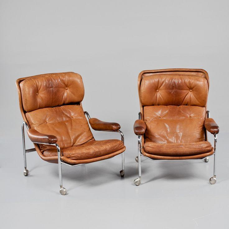 (3) FINN – Vintage lenestoler i skinn