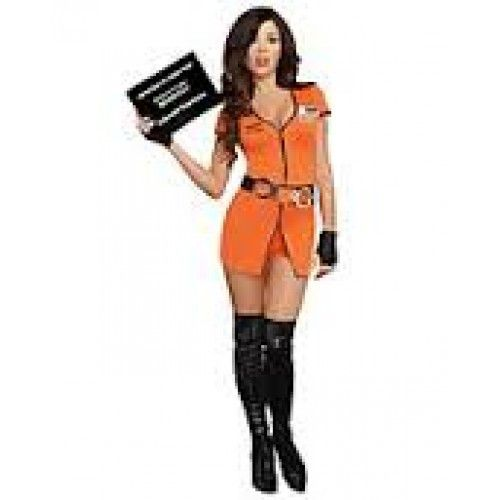 """#9505 Get caught for indecent exposure in this Sexy Locked Up Inmate costume. Includes: - A sexy stretch zip front romper with a """"Department of Corrections"""" screen print detail - Belt with removable h"""
