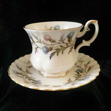 Royal Albert Brigadoon Demitasse coffee Cup & Saucer Scots Thistle Fine China