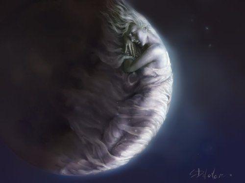 Close-up of the MoonMoon Child, Steve Delamare, Lady Moon, Moon, Fantasy Art, Moon Goddesses, Digital Painting, La Mare, The Moon