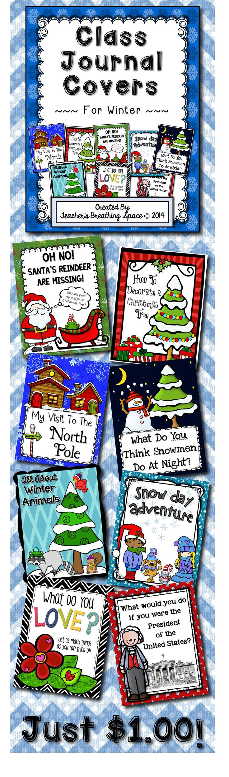 Whole Class Journal Covers for Winter --- Writing Topics for December, January and February --- Just $1.00!