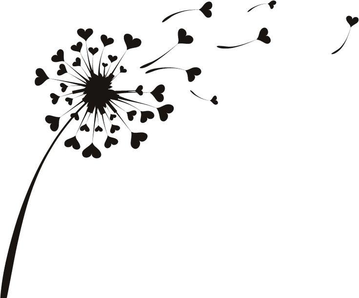 Love Heart Dandelion Flowers Wall Stickers Wall Art Decal ...