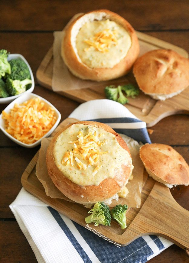 Homemade Cheddar Broccoli Soup in Bread Bowls