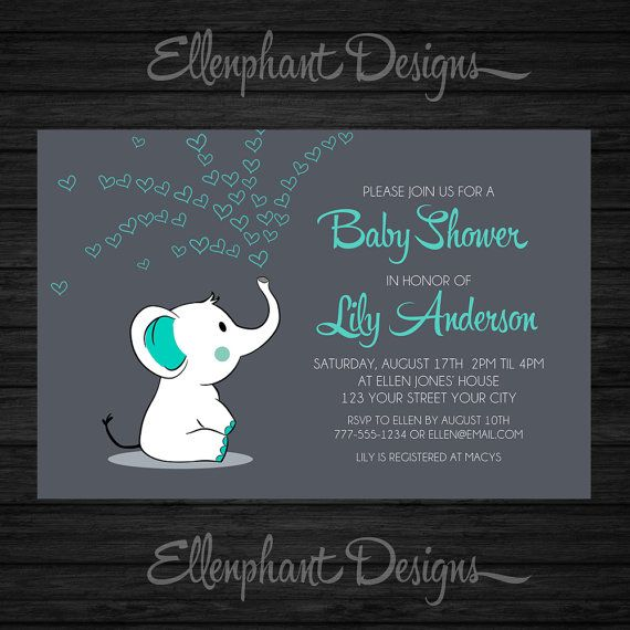 Baby elephant Baby Shower Invitation teal turquoise by ellenphant