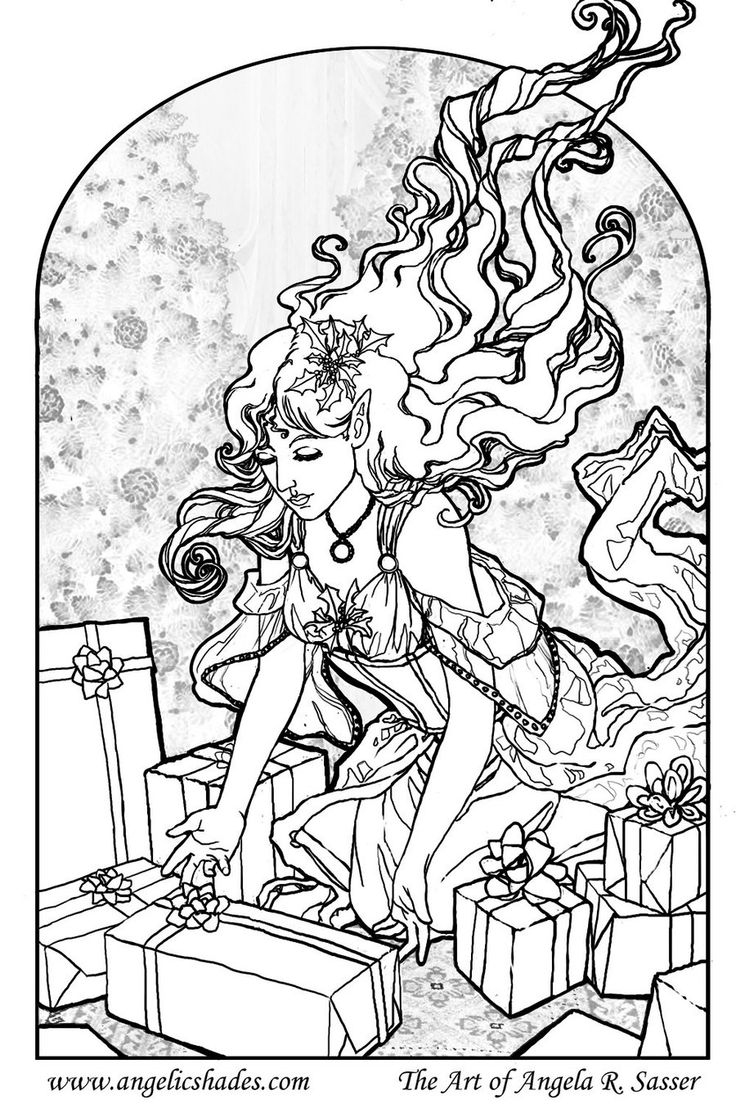 The Gift Giver Line Art by AngelaSasserdeviantart