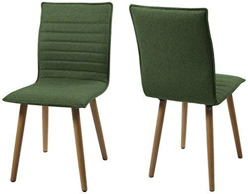 AC Design Furniture H000014090 Esszimmerstuhl 2-er Set Claus, Sitz/Rücken Gestell aus Eiche, Stoff, grün AC Design Furniture   AMAZON 139€