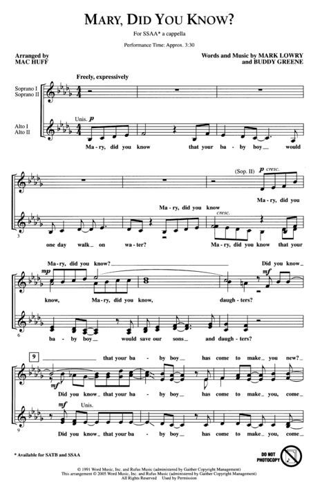 """Mary, Did You Know?"" Sheet music."