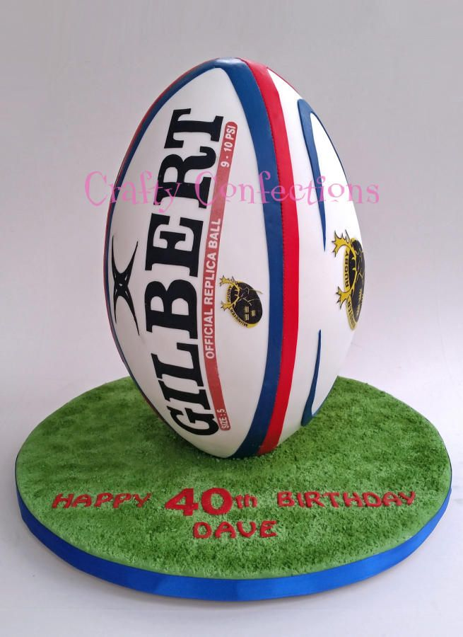 On end Rugby ball cake - Cake by Kelly Cope