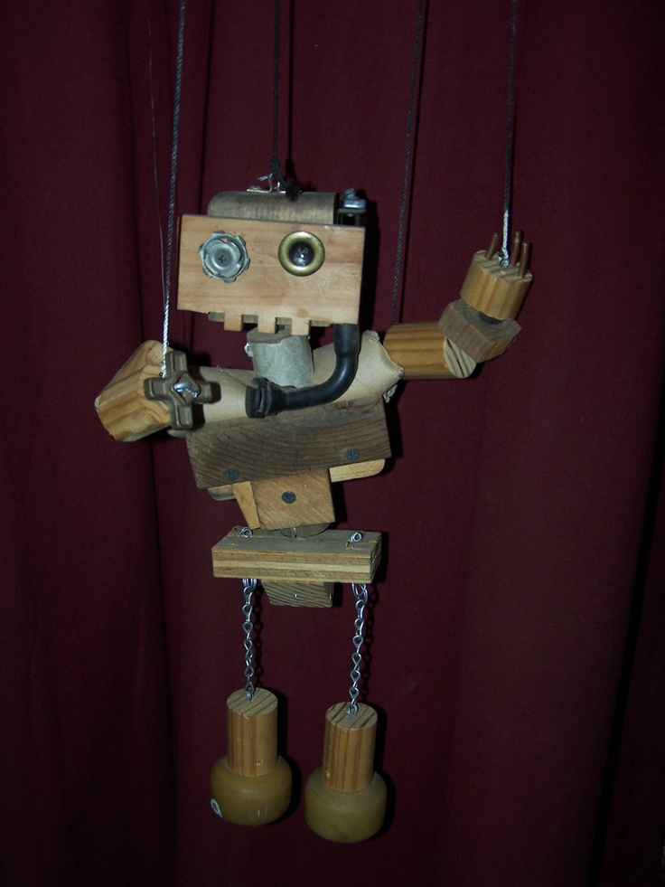 Upcycled Woodbots Robot Marionettes Make Great Wall