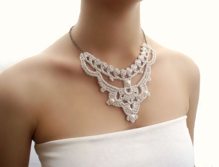 Bib Statement Necklace Silver Wedding Pearl by DIDIcrochet on Etsy