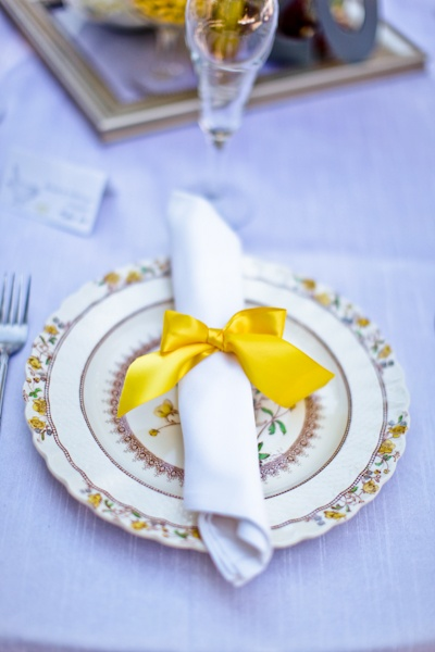 So...a different brightly coloured ribbon tying each napkin and cutlery and their initials stamped on the the long bit of the ribbon?!