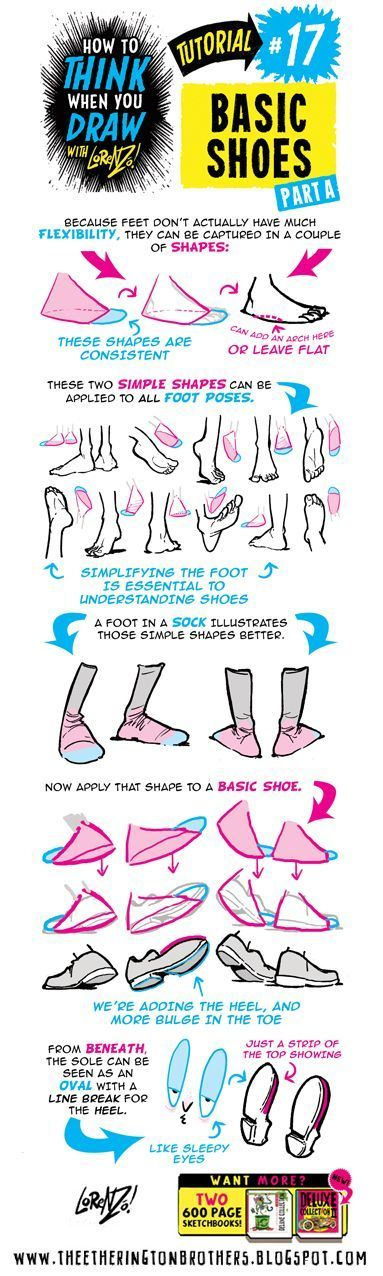 HOW+to+THINK+when+you+draw+FEET+AND+SHOES+tutorial+lorenzo+etherington+3.jpg (383×1276)