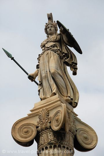 Athens - Pallas Athena Statue at Athens University. Image courtesy of Travel Pictures Gallery W2C