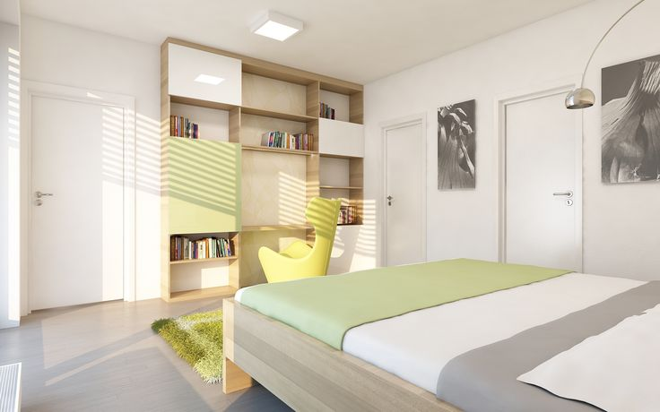 Naproti posteli je navržena knihovna s částečně uzavřenými úložnými prostory. Z ložnice mají majitelé přímo přístupnou šatnu a vlastní sociální zařízení.