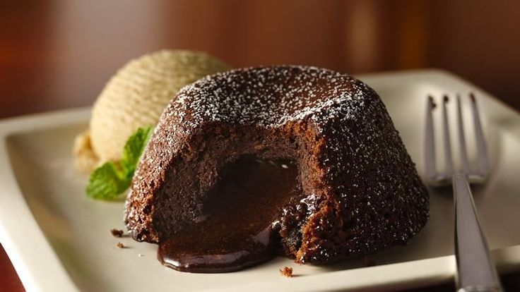 Relish this chocolate centered espresso cake served with vanilla ice cream - a superb dessert made using Original Bisquick® mix.