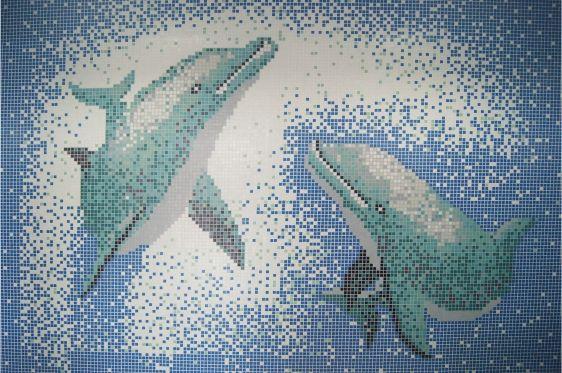MOSAICOS PUZZLE: MURAL HK PEARL - DELFINES 33x33 cm Caja: 100 piezas