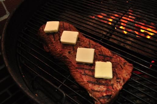 Elk steak, marinated in bourbon and then grilled