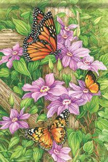Monarchs & Clematis Garden Flag FlagTrends CLASSIC FLAGS