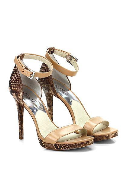 Michael Kors - Sandalo alto - Donna - Sandalo alto in pelle e pelle stampata effetto pitone con cinturino alla caviglia e suola in gomma. Tacco 110, platform 20 con battuta 90. - KHAKI\NATURAL - € 165.00