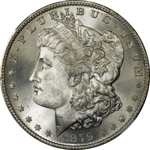 A Morgan silver dollar coin in mint condition of 1879. ~ public domain photo