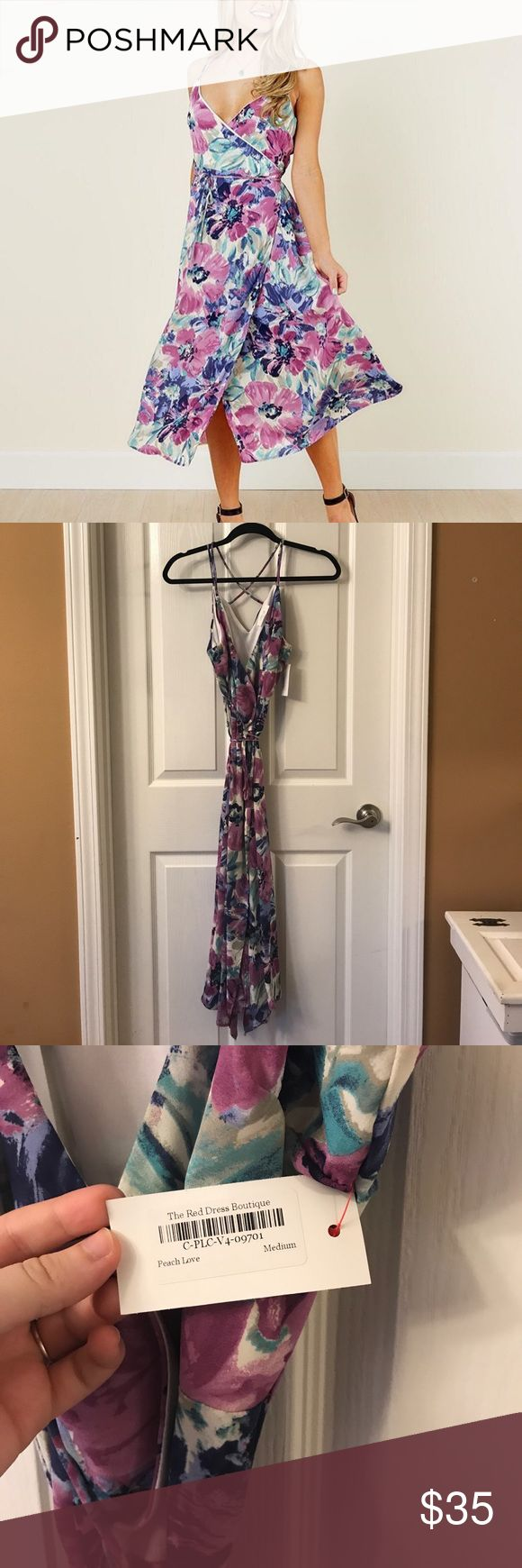 Red Dress Boutique Floral Maxi Dress Purple and blue floral wrap maxi. Brand is Peach Love California. Size medium. New with tags. Never worn. The Red Dress Boutique Dresses Maxi