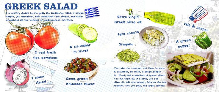 www.gaea.gr Greek Salad #Recipe  wit Extra Virgin Olive Oil, feta,oregano ,tomatos, onion and many other Mediterranean flavors! illustration by Nicolas Drossos